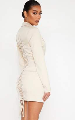 PrettyLittleThing Nude Long Sleeve Lace Up Back Detail Blazer Dress