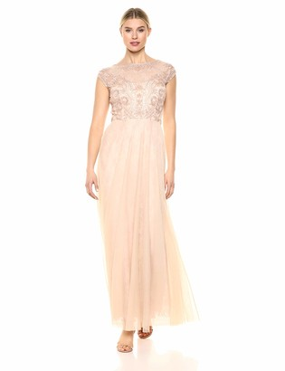 Marina Women's Illusion Cap Sleeve Beaded Boice Gown