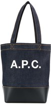 A.P.C. logo print denim tote
