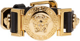 Versace Black & Gold Leather Medusa Bracelet