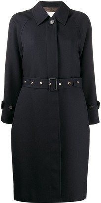 MACKINTOSH BRORA Navy Virgin Wool Single Breasted Trench Coat | LM-097F