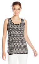 Vince Camuto Women's Sleeveless Amana Geo Tile Tank with Contrast
