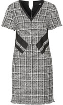 Karl Lagerfeld Fringed Cotton-blend Tweed Mini Dress - Black
