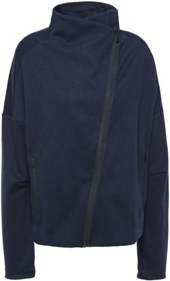 adidas Stretch Cotton-blend Jersey Turtleneck Track Jacket