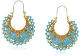 Miguel Ases Turquoise and Gold Hoop Earrings