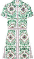 Tory Burch Port Printed Cotton-blend Mini Dress - Green