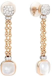Pomellato 18K Rose & White Gold Diamond, White Topaz & Mother-of-Pearl Chain Drop Earrings