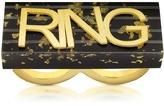 MM6 Maison Martin Margiela Black & Gold Resin Ring