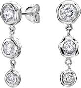 Dower & Hall Dewdrop Sterling Silver Graduating White Topaz Beaten Nugget Drop Earrings