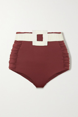 Johanna Ortiz Watercourse Belted Ruched Bikini Briefs - Chocolate