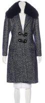 Versace Fur-Trimmed Herringbone Coat