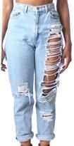 Paixpays Sexy Women High Waist Destroyed Boyfriend Jeans Denim Hole Pants Pants