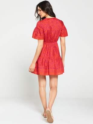 Whistles Henna Print Flippy Dress - Pink/Multi