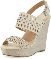 Charles by Charles David Aloof Studded Laser-Cut Wedge Sandal, Alabaster