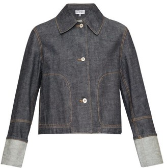 Loewe Contrast-stitch Denim Jacket - Womens - Indigo