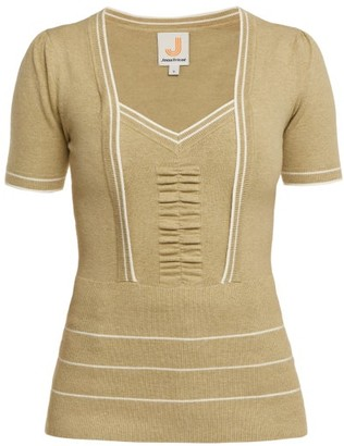 JoosTricot Ruched Knitted Top - Womens - Light Green