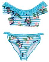 Jantzen Neo Nautical Striped Anchor Ruffle Top Bikini (Big Girls)