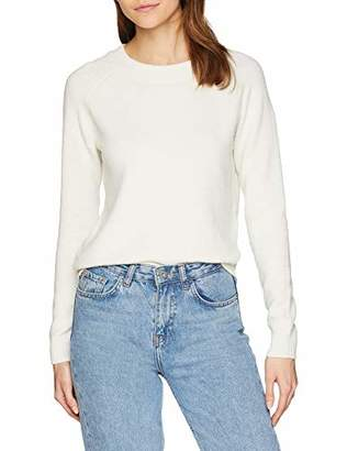 Vero Moda Women's Vmdoffy Ls O-Neck Blouse Color Jumper, (Snow White Detail:Solid), 12 (Size: Medium)