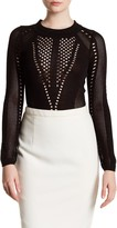 Wow Couture Long Sleeve Embroidered Knit Bodysuit