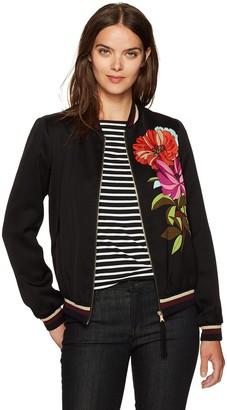 Trina Turk Women's Adriano Dahlia Dell Placed Print Bomber Jacket