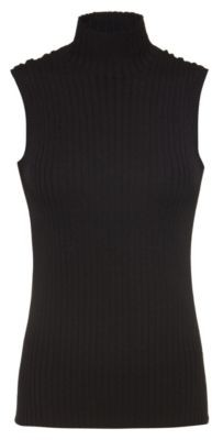 Sleeveless top in ribbed fabric with mock neckline