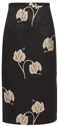 Rochas Oncidium Embroidered Orchid Pencil Skirt - Womens - Black