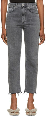 Citizens of Humanity Grey Daphne Crop High-Rise Stovepipe Jeans