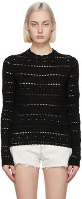 Saint Laurent Black Cotton Crochet Sweater