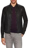 John Varvatos Foil Laminated Zip Front Racer Jacket