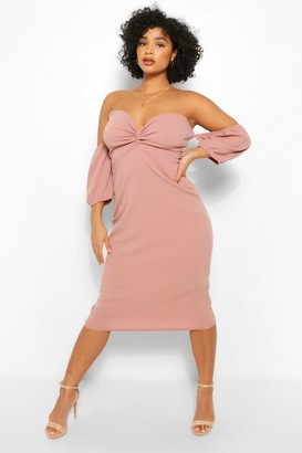 boohoo Plus Bardot Ruched Detal Midi Dress