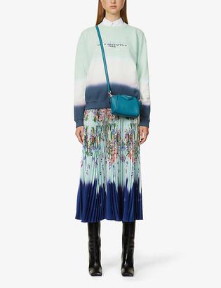 Givenchy Floral-print pleated satin midi skirt
