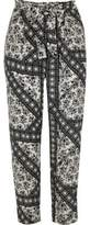 River Island Womens Black floral print tie waist tapered pants
