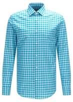 HUGO BOSS Gingham Italian Cotton Linen Dress Shirt, Slim Fit Jenno 15 Open Green