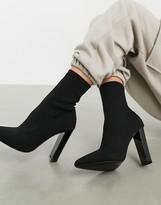 Asos Design DESIGN Enhance block heel sock boots in black knit