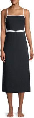 Solid And Striped Sleeveless Wrap-Waist Apron Dress