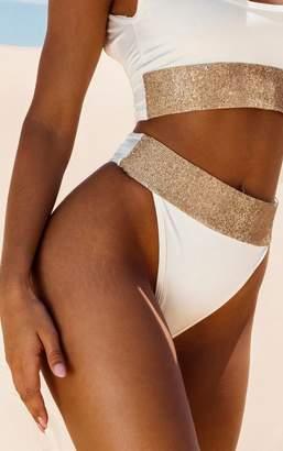 PrettyLittleThing Peach Diamante High Leg Bikini Bottom