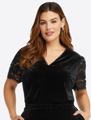 Draper James Lace & Velvet V-Neck Top