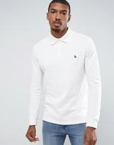 Jack Wills Staplecross Long Sleeve Polo Shirt In White