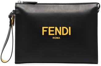 Fendi Logo-Print Leather Pouch