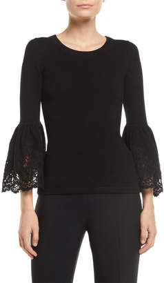 Michael Kors Lace Bell-Sleeve Cashmere Pullover Sweater