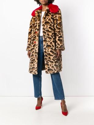 Dolce & Gabbana contrast-collar leopard-print coat