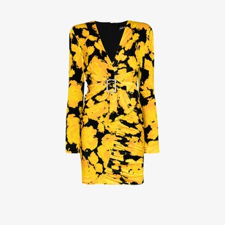 Richard Quinn Buckled Floral Velvet Mini Dress