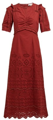 Sea Naomie Broderie-anglaise Cotton Maxi Dress - Womens - Burgundy