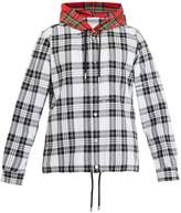 Off-White Tartan hooded cotton-blend shirt