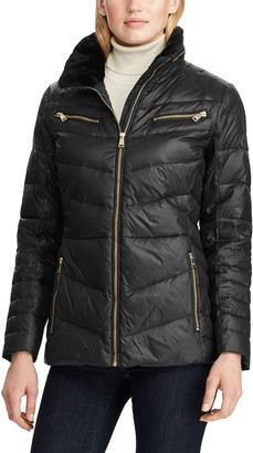 Lauren Ralph Lauren Faux Fur Trim Quilted Hooded Down & Feather Jacket