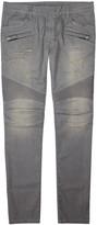 Balmain Grey Slim-leg Biker Jeans