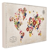 Floral World Map (Canvas)