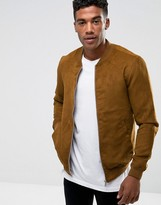 Pull&Bear Faux Suede Bomber In Tan