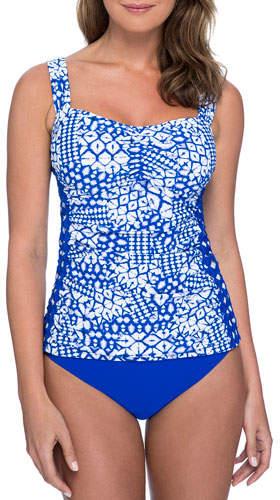Gottex Plus Size Diamond Batik Ruched Tankini Swim Top