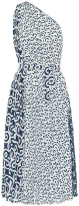 Oscar de la Renta Printed georgette one-shoulder midi dress